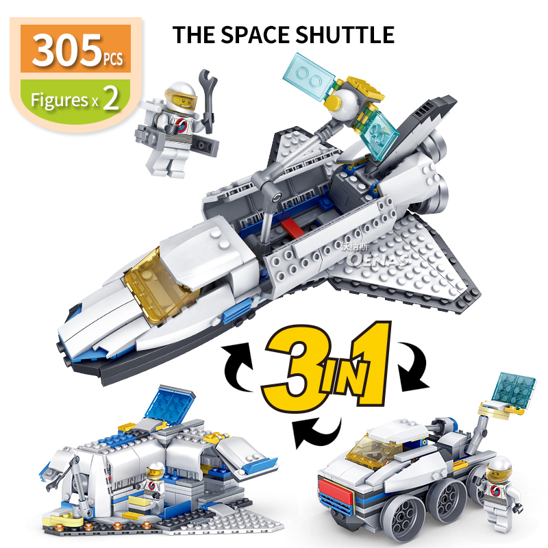 New! Skillful Knitting And Elegant Design 3 In 1 Education Diy Space Shuttle Assembled Building Blocks Bricks Boys Toy Match With Legoingly Kids Kits Birthday Gift To Be Renowned Both At Home And Abroad For Exquisite Workmanship