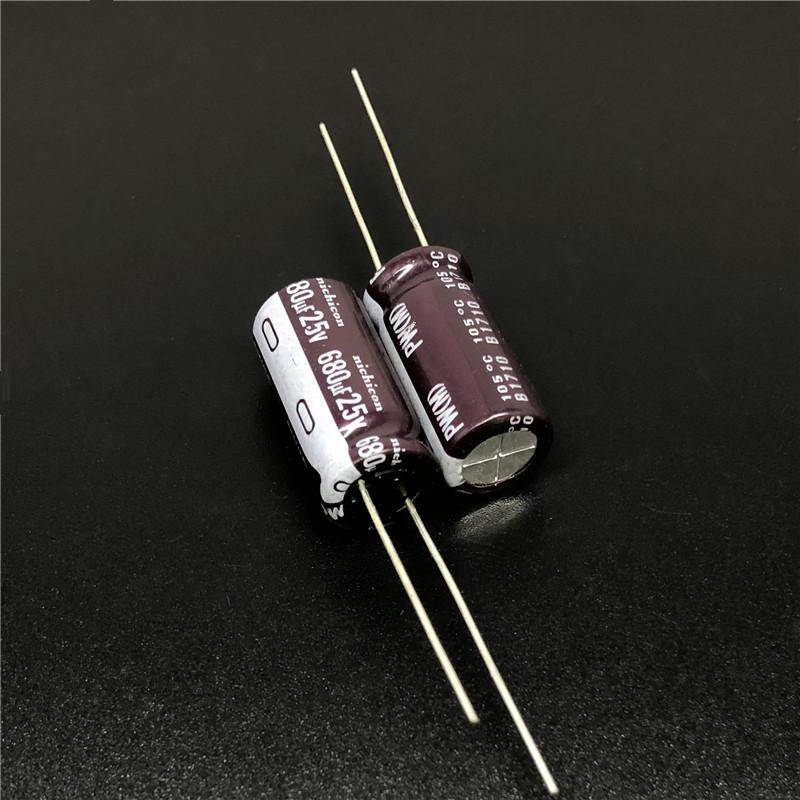 10pcs/100pcs 680uF 25V NICHICON PW Series 10x20mm Low Impedance Long Life 25V680uF Aluminum Electrolytic Capacitor