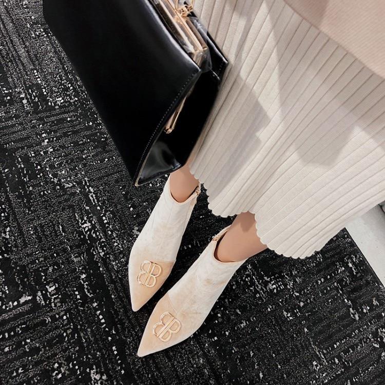 Talons Botas as As De Métal En Décor Bout Luxe Femmes Conception Automne Bottes Pistes Cheville Mujer Pompes Pointu Chaussures Show Show Nouvelle Med 2019 Femme nxaXv