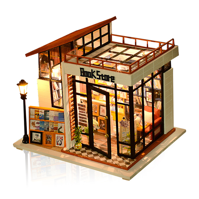 Book Store Furniture Dollhouse Miniature Diy House Craft Model Kit