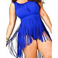 2016 Плюс Размер Женщин Эротическое Боди Кисточкой Bodycon Комбинезон одежда для Пляжа Сексуальная Высокая Талия One Piece Комбинезоны Combinaison Femme