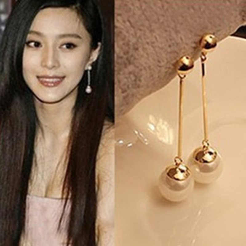 Korean Star The Same Paragraph Fashion Imitation Pearl Tassel Earrings Wholesale Jewelry Earrings Female Long Section  Vintage