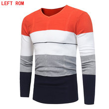 2017 Spring mens Slim sweater pullovers Simple style cotton knitted V neck sweater jumpers Thin male knitwear  S-3XL