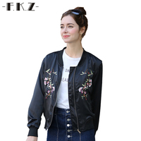 FKZ Fashion Warm Outerwear Embroidery Floral Autumn Spring Short Womens Coats Jackets Cotton Casual Coats Bomber