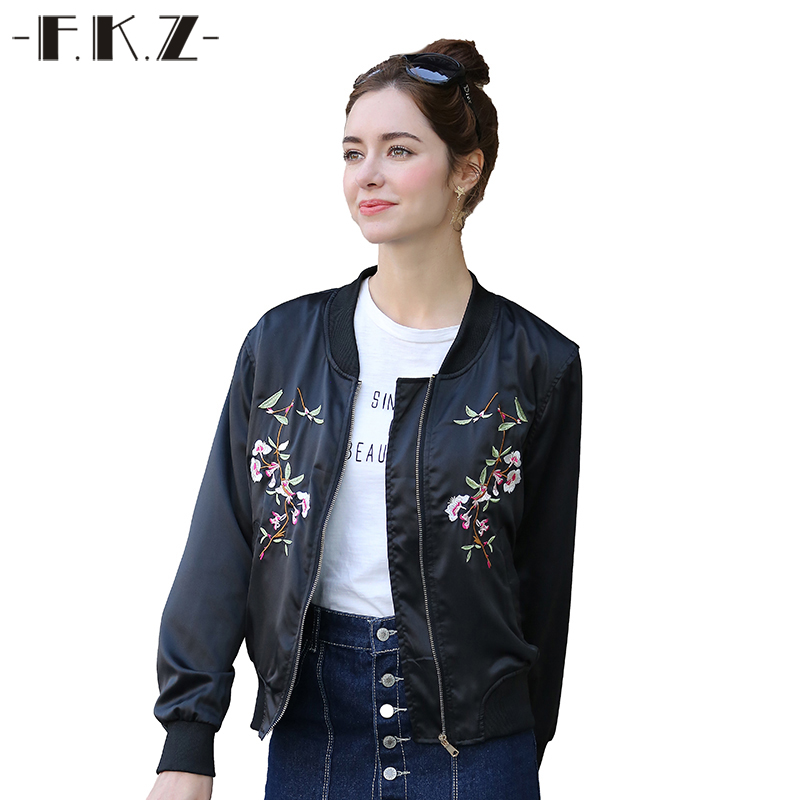 FKZ Harajuku Bird Plum Flower Embroidery Bomber Jacket Autumn Spring Short Women Basic Coats Casual Black