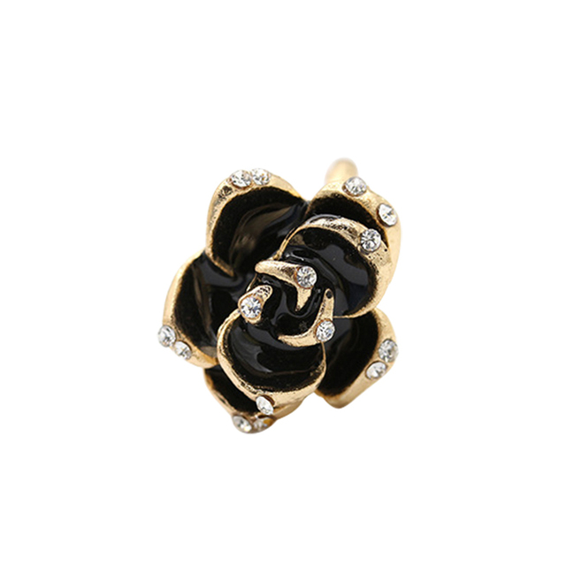 The High-grade Imported Jewelry Black Rose Flower Ring ,Rhinestone Open Adjustable Ring Free Shipping R597