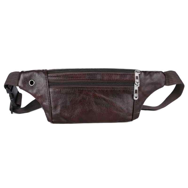 018e324ce17 Classic Men Waist Packs PU Leather Shoulder Bags Zipper Solid Sling ...