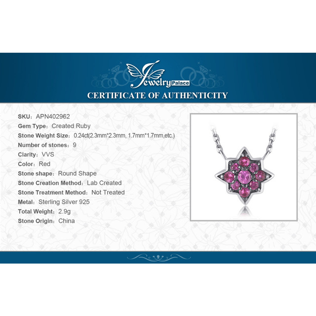 0.2ct Created Ruby Flowers Necklace With Chain 5