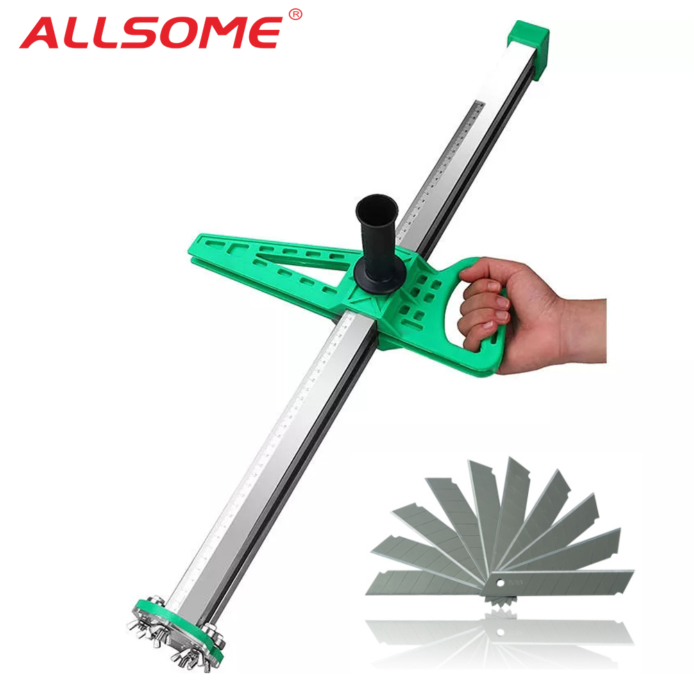 ALLSOME Stainless Steel Manual Gypsum Board Cutting Artifact Roller Type Hand Push Drywall Cutting Tool + 12pcs Blades HT2622