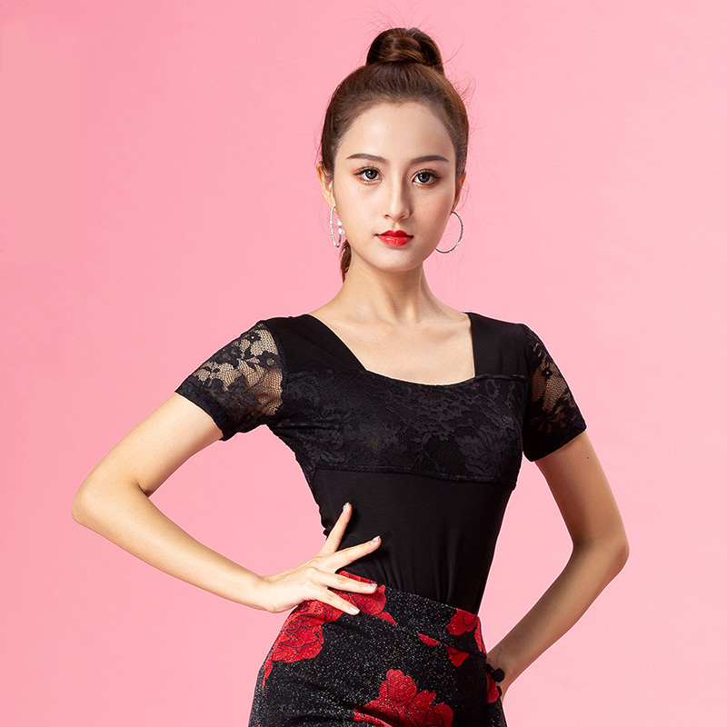 Short Sleeve Lace Modern Sexy Latin Dance Clothes Top For Women/female Dancers,Ballroom Tango Costume Performance Wears YT0307