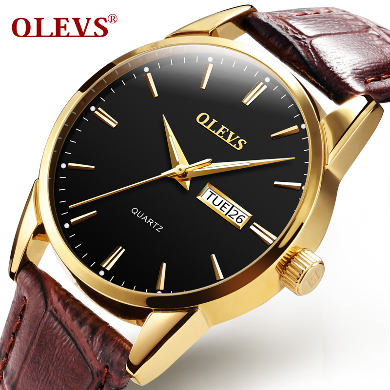 Mens Watches Top Brand Luxury Quartz Watch OLEVS Fashion Casual Business Leather Men Wristwatches Quartz-Watch Relogio Masculino baosaili fashion casual mens watches top brand luxury leather business quartz watch men wristwatch relogio masculino bs1038