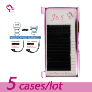 J & S 16 ROWS Mix Length Ellipse Flat False Eyelash Extensions Soft Thin Tip Flat Roots Saving Time Recomended by Technicians