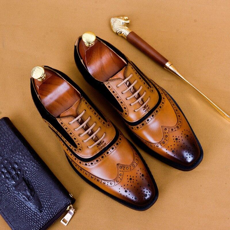 Phenkang mens scarpe formali del cuoio genuino scarpe oxford per gli uomini nero 2019 abito da sposa scarpe con lacci francesine in pellePhenkang mens scarpe formali del cuoio genuino scarpe oxford per gli uomini nero 2019 abito da sposa scarpe con lacci francesine in pelle