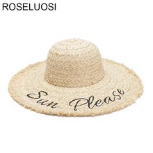3a25daf6ce5 ROSELUOSI Women Summer Wide Brim Sun Hats 2018 New Letter Embroidery Straw  Hat Ladies Casual Raffia Panama Sombrero Mujer Playa