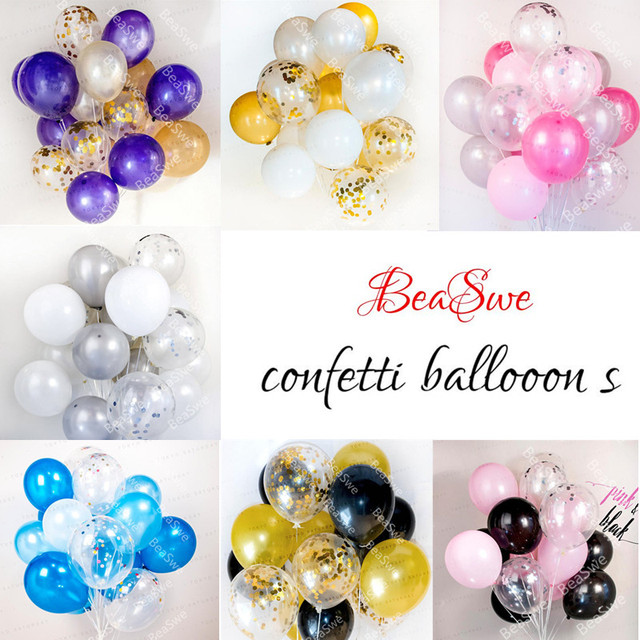 Mixed 20pcslot 10inchs Of Confetti Latex Helium Balloons Gold Pink