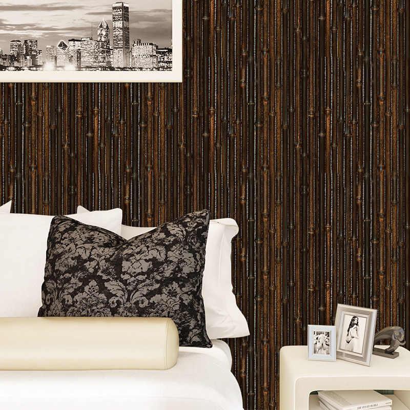 3D бамбуковая имитация наклейки на стену винтажный декор для кафе бар самоклеющиеся настенные панели для коридора, рабочего кабинета бесшовная плитка Фреска