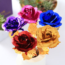 Artificial Rose 24K Gold Colorful Plated Rose FlowerValentine's Day Gift Birthday Romantic Creative Golden Rose Party Decor(China)