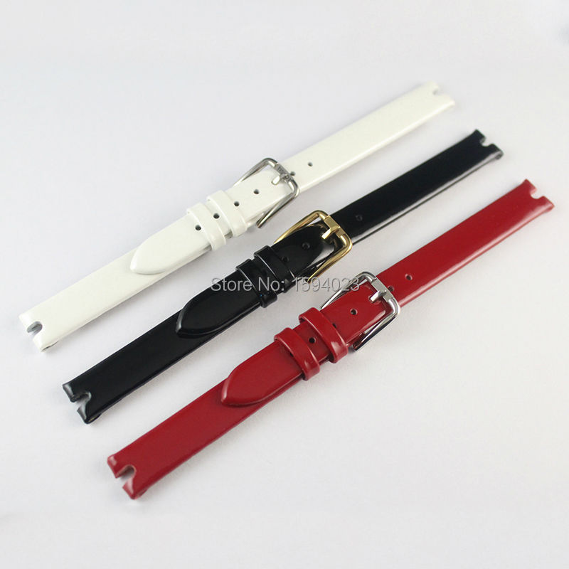 10mm (Buckle10mm) T003 High Quality gold Plated silver Pin Buckle + Black White Red Genuine Patent Leather Watch Bands Strap