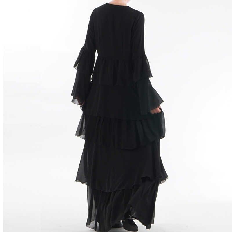 VAE Abaya Dubai Kaftan Maleisië Ruche Geplooid Chiffon Kimono Vest Moslim Hijab Jurk Vrouwen Dubai Turkse Islamitische Kleding