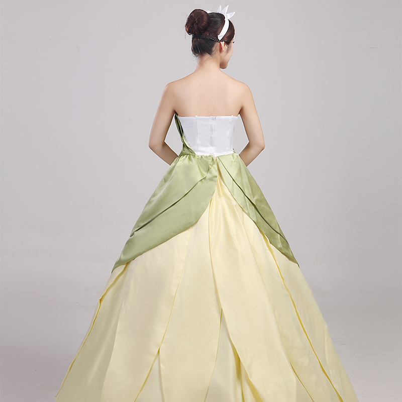 Wonder woman cosplay The Princess and the Frog costume adult princess tiana dress for Halloween costume long green Party dress (3)