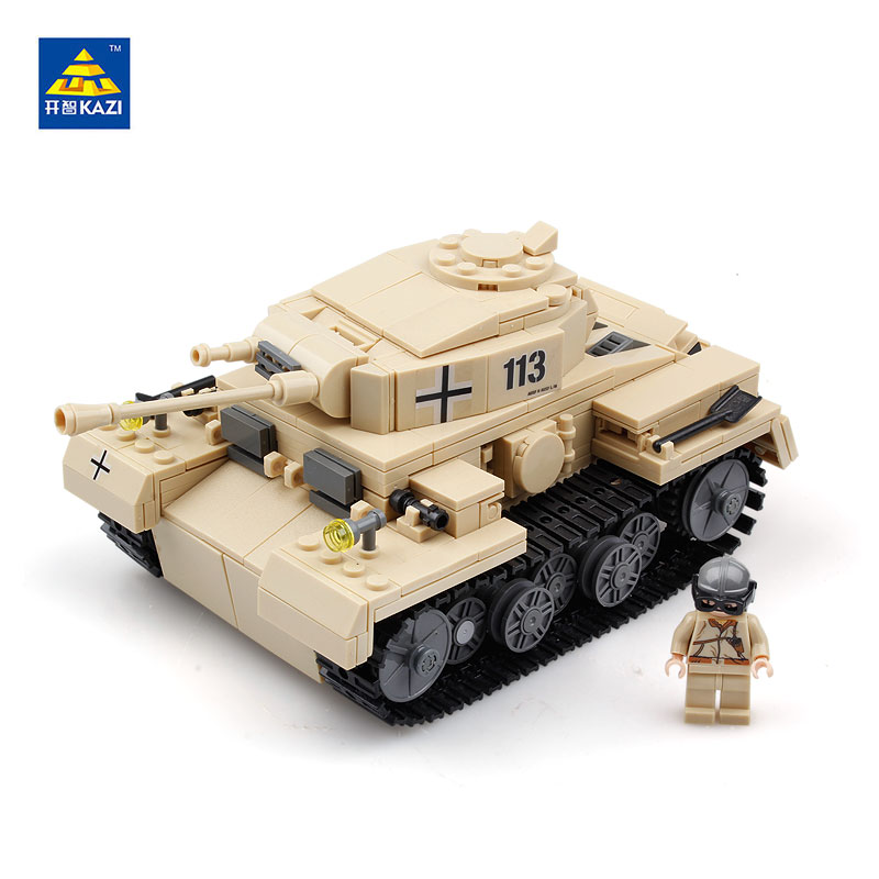 KAZI 82008 Military German Tiger Tank Model Building Blocks ABS Plastic Brick Compatible with lego Army Toys Gifts kazi 995pcs century military german king tiger tank cannon building blocks bricks model sets aiboully 82011 toys compatible gift