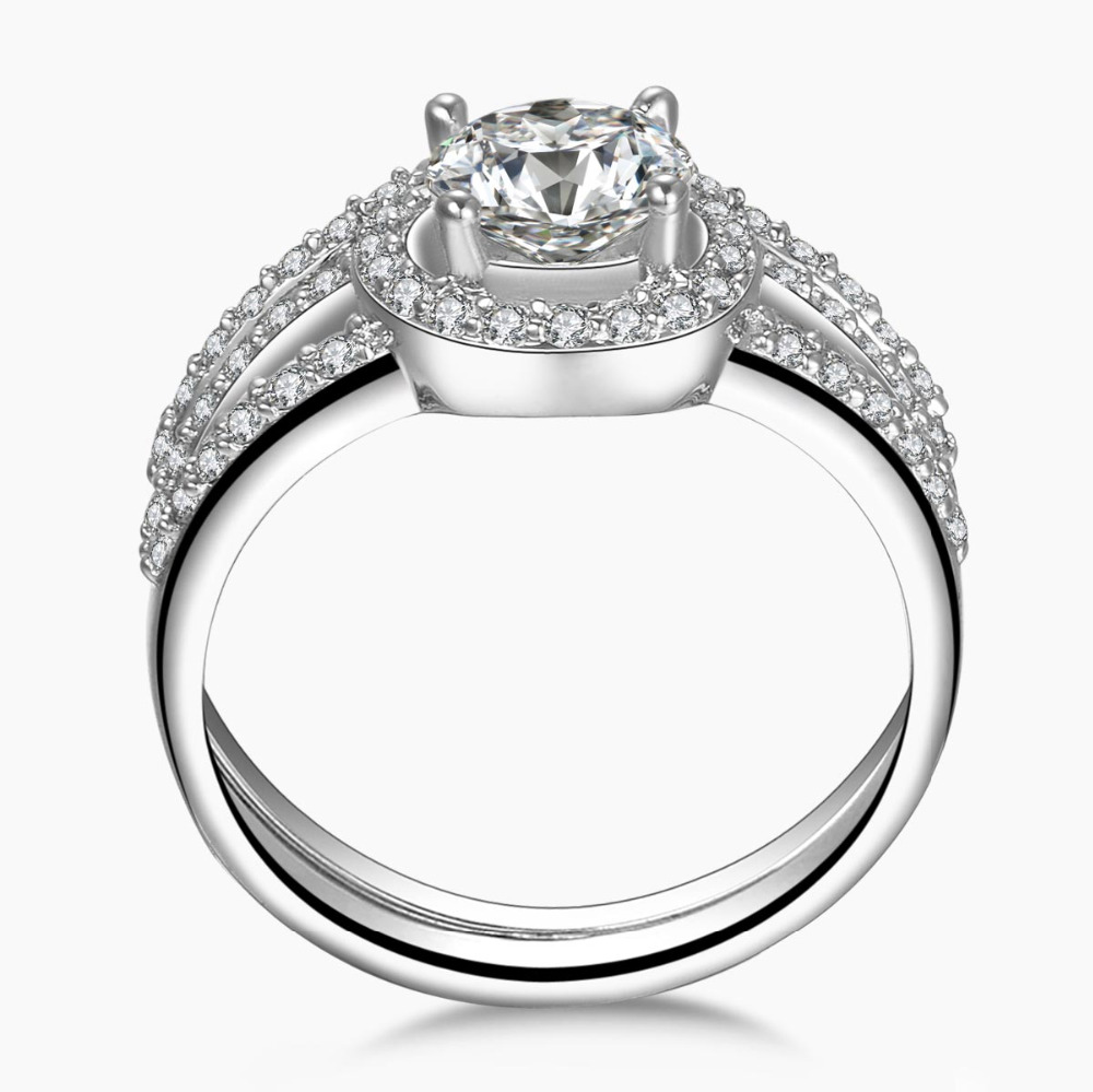Stylish Dazzling Engagement Wedding Ring Set 925 Sterling Silver Jewelry For Women Brand Design Band Halo FABULOUS In Rings From Accessories