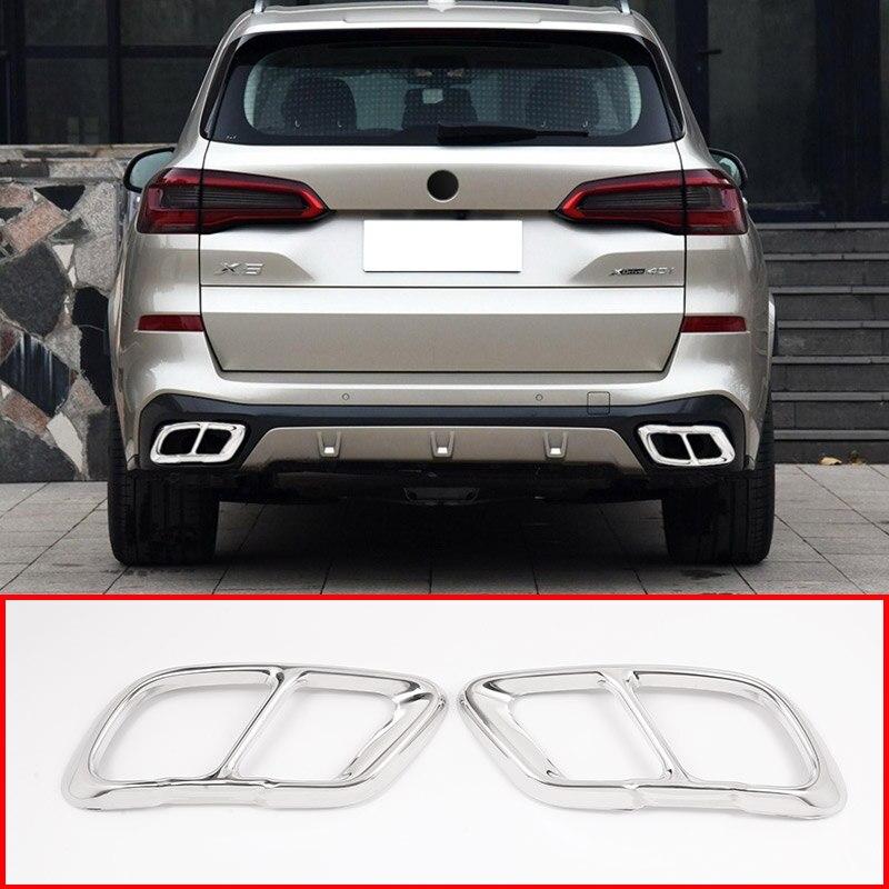 Otomobiller ve Motosikletler'ten Krom Şekillendirici'de 2 adet krom paslanmaz çelik araba egzoz borusu kapağı Trim için BMW X5 2019 yıl modeli aksesuarları title=