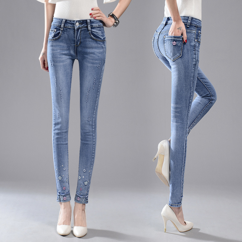 ФОТО Fashion design women jeans new style strech skinny jeans women slim trousers high quality sexy ladies boyfriend jeans for women