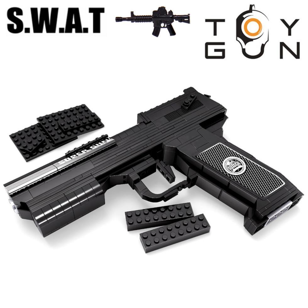 AUSINI 373pcs SWAT Desert Eagle Pistol Power GUN Weapon Arms Model 1:1 3D DIY Model Building Blocks Bricks Kids Toy Gift