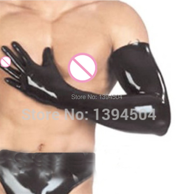 2019 New Hot Latex Gothic Sexy Lingerie Long Men Gloves Hot Cekc Strong Male Fetish Wrist Female Customized