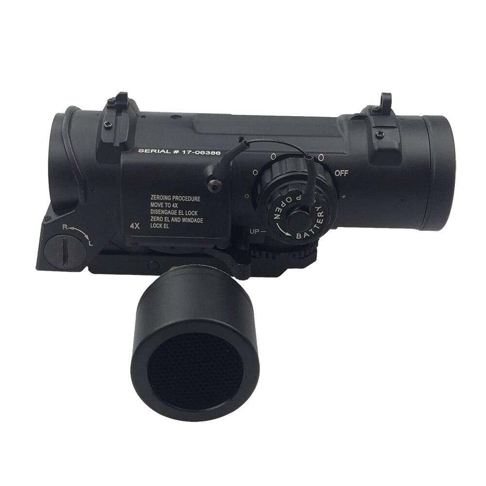 Tactical 4x Fisso Ruolo Doppia Ottica Rifle Scope/Airsoft Scope/Magnificate Scope Fit 20mm Del Tessitore di Picatinny Ferroviario per la Caccia