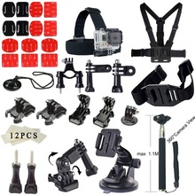 ZJM For Gopro accessories Set 3M sticker suction cup For Go pro hero3 Hero4 3 2 Black Edition monopod Gopro accessories kit