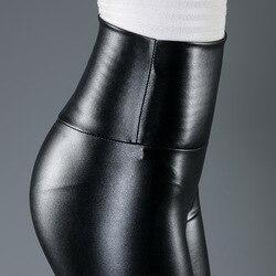 10 Colors Winter Leggings For Women High Waist Black Leather Pencil Pants Autumn Plus Size Skinny Slim Shiny Fleece Trousers 2