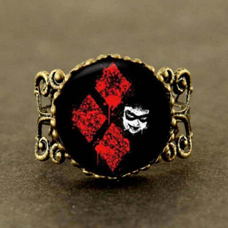 Steampunk 2017 Harley Quinn Harley Quinn ring 28 MM Round Glass Dome Maxi Gift Women Men antique charm