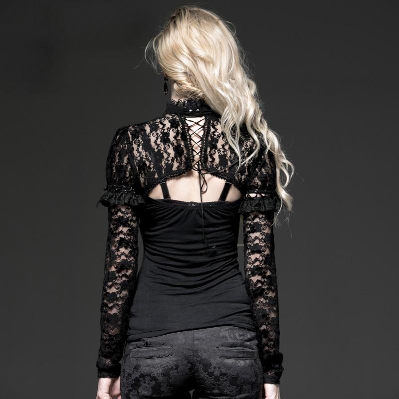 Dos Tops Automne Manches Voir Gothique Évider shirt Nu Througn T Longues Pull Mince Femme Black Noir Mode Dentelle Sexy xqxvzH0