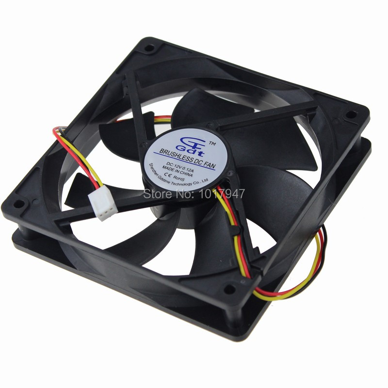 100Pieces LOT Gdstime DC 12V 3Pin 12cm 120mm x 25mm 12025 Brushless Speed Controller Cooling Fan
