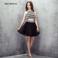 H S Bridal Above Knee Short Cocktail Party Gowns Blue Tulle Black Pearls Beaded Two Pieces