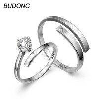 BUDONG סוליטייר טבעת זוג לגברים ונשים מתכוונן להרחיב טבעת כסף סטרלינג 925 תכשיטי יוקרת טבעת אירוסין לנשים