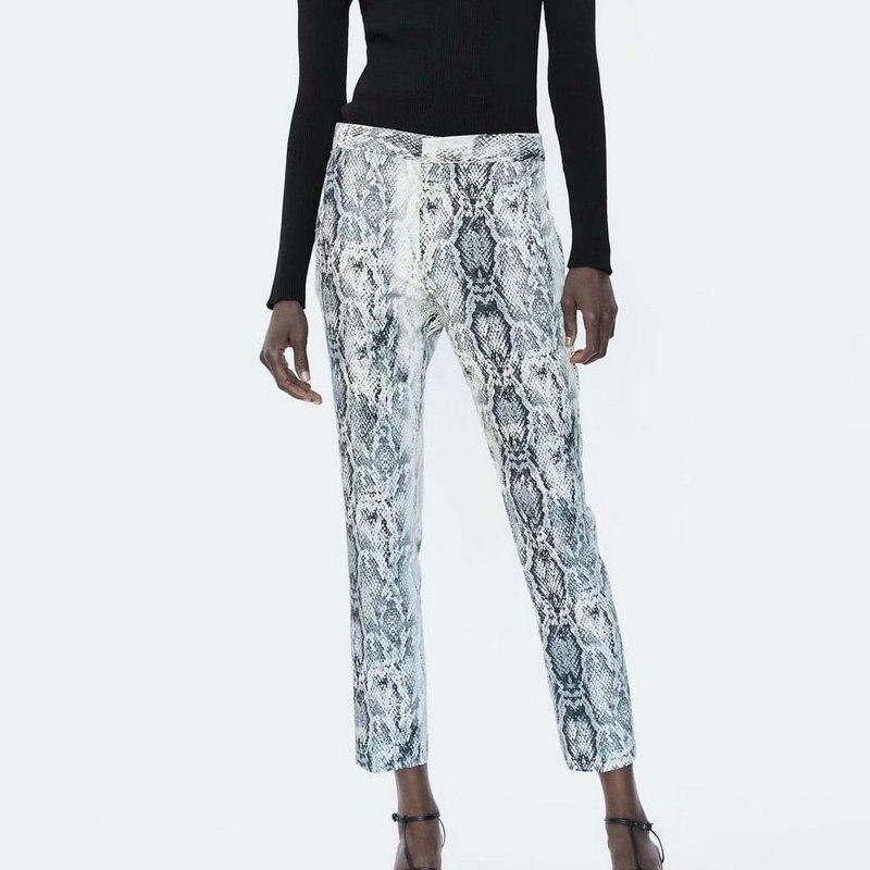 Bottoms Women Animal Print Snake Skin Denim Pencil Pants High Waist Pocket Zipper Jeans Trousers Female Casual Vintage Femme Pantalones