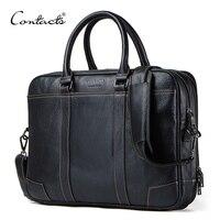 Контакта для мужчин Портфели пояса из натуральной кожи большой бизнес курьерские сумки мужской повседневное сумка для ноутбука