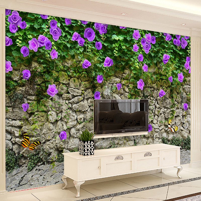 Purple rose vine wall green leaf flower brick wall tv for Purple brick wallpaper