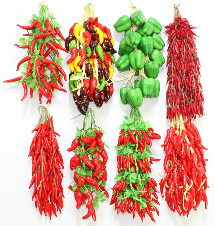 050 Simulation of vegetables hanging string of fake chili string fruit string Farmhouse Hotel courtyard red fire decorate in Artificial Foods Vegetables from Home Garden