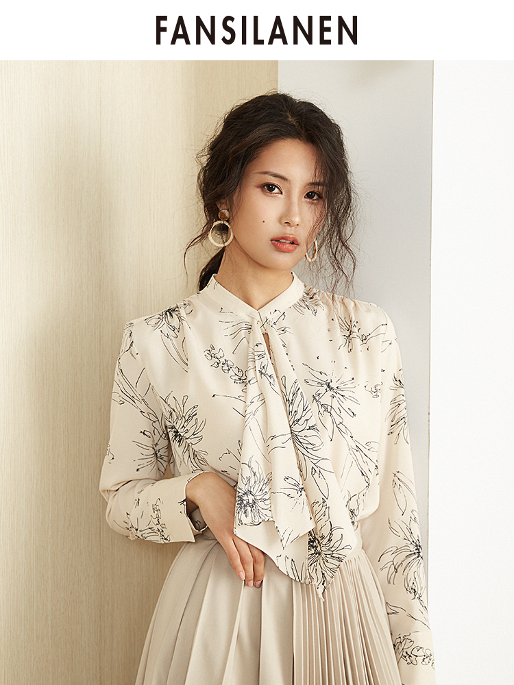 FANSILANEN 2019 Fashion New Arrival Summer/Spring Office Women Befree Tops   Blouse     Shirts     Blouses   Print Chiffon Female Z90226