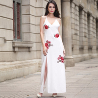 2017 Ruiyige Floral Print Long Dress Women Strap V Neck Split Beach Summer Dress Sexy Vintage