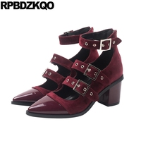 Wine Red Block Pointed Mary Jane Ankle Strap Shoe Zipper Strappy High Heel 2018 Spring Fashion Women Pumps Patent Leather Velvet