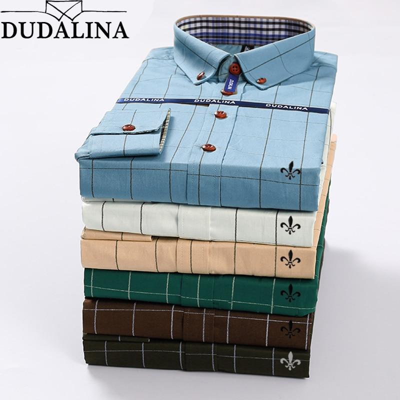 Shirt Men 2020 Men Camisa Masculina Long Sleeve Shirt Plaid Male Dudalina Blusa Social Masculina Slim Fit Plus Size