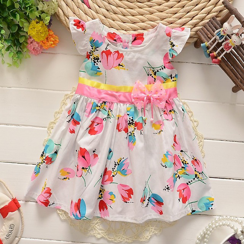 BibiCola Newborn Summer clothing 2017 New Infant girl dresses Floral Print Toddler Clothes Princess Birthday Dress for Girl