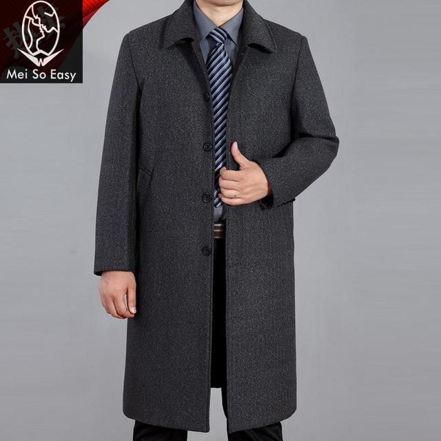 2017 новое поступление зимние мужские Длинный дизайн пальто свободные повседневные мужские шерстяные пальто Толстые модная Высококачественная обувь Большие размеры M-4XL