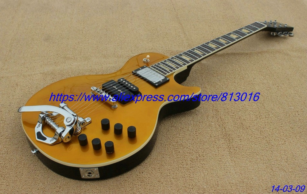 Hot!custom-made electric guitar lp gold standard,special customised pickups way,yellowish pearl inlay,free shipping! 3ts with pickups custom shop acoustic guitar free shipping custom made it direct manufacturer beautiful and wonderful j 200