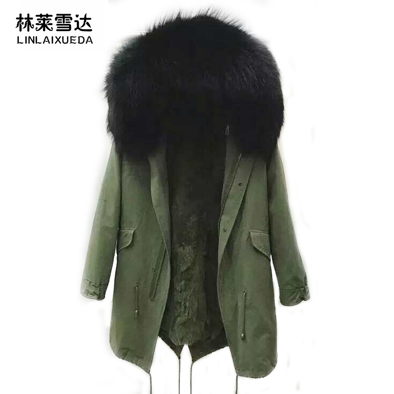 LINLAIXUEDA Raccoon Dog Fur Collar Hoodie Parka Rex Rabbit Fur Liner Women Fashion Parka Thickening Casual Women Hoodie Park